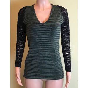 Missoni Striped Crochet Knit Sleeve Sweater